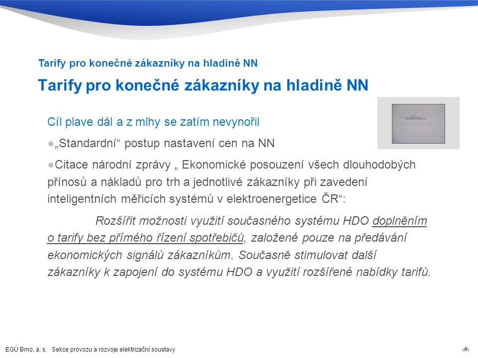 """EGÚ Brno, a. s. Sekce provozu a rozvoje elektrizační soustavy 52 Cíl plave dál a z mlhy se zatím nevynořil ●""""Standardní"""" postup nastavení cen na NN ●C"""