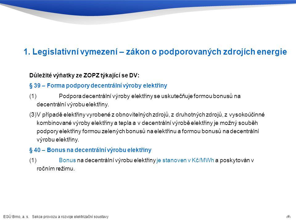 EGÚ Brno, a. s. Sekce provozu a rozvoje elektrizační soustavy 62 1. Legislativní vymezení – zákon o podporovaných zdrojích energie Důležité výňatky ze