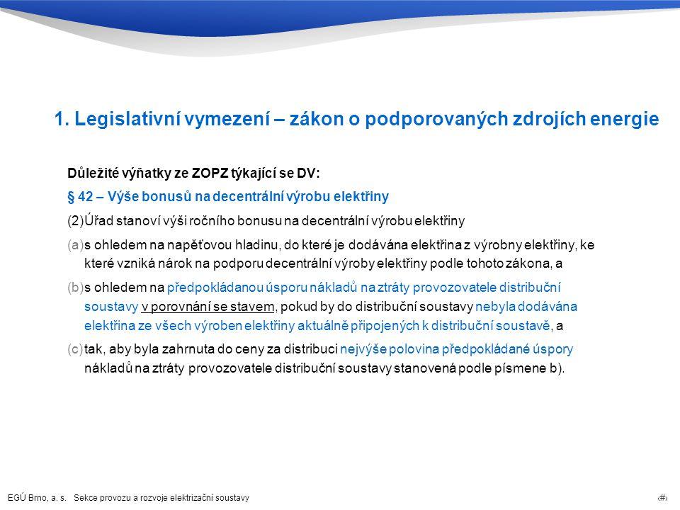 EGÚ Brno, a. s. Sekce provozu a rozvoje elektrizační soustavy 63 1. Legislativní vymezení – zákon o podporovaných zdrojích energie Důležité výňatky ze