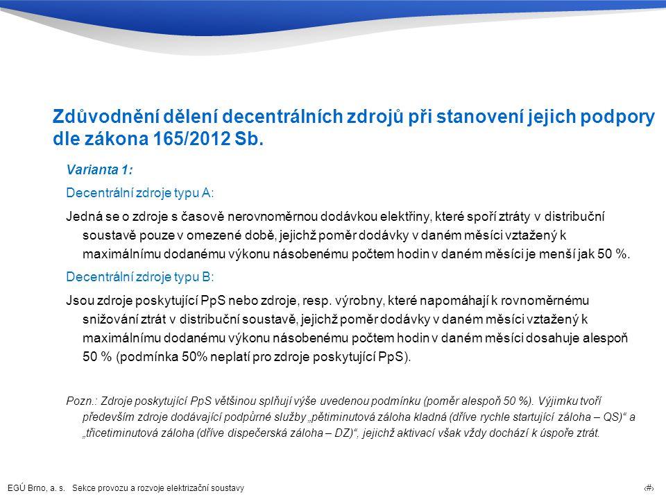 EGÚ Brno, a. s. Sekce provozu a rozvoje elektrizační soustavy 72 Zdůvodnění dělení decentrálních zdrojů při stanovení jejich podpory dle zákona 165/20