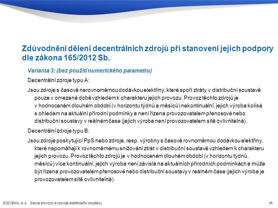 EGÚ Brno, a. s. Sekce provozu a rozvoje elektrizační soustavy 74 Zdůvodnění dělení decentrálních zdrojů při stanovení jejich podpory dle zákona 165/20