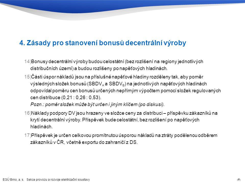 EGÚ Brno, a. s. Sekce provozu a rozvoje elektrizační soustavy 78 4. Zásady pro stanovení bonusů decentrální výroby 14)Bonusy decentrální výroby budou