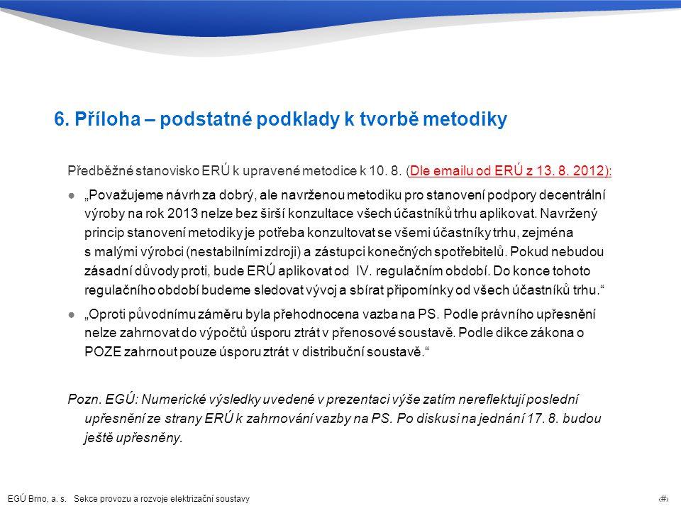 EGÚ Brno, a. s. Sekce provozu a rozvoje elektrizační soustavy 91 6. Příloha – podstatné podklady k tvorbě metodiky Předběžné stanovisko ERÚ k upravené