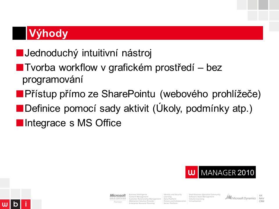 ■ Jednoduchý intuitivní nástroj ■ Tvorba workflow v grafickém prostředí – bez programování ■ Přístup přímo ze SharePointu (webového prohlížeče) ■ Definice pomocí sady aktivit (Úkoly, podmínky atp.) ■ Integrace s MS Office Výhody