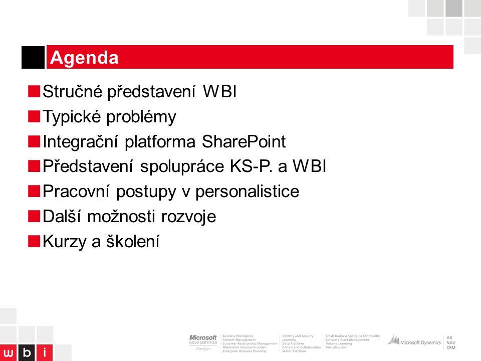 Agenda ■ Stručné představení WBI ■ Typické problémy ■ Integrační platforma SharePoint ■ Představení spolupráce KS-P.