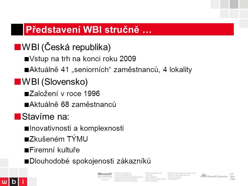 """Představení WBI stručně … ■ WBI (Česká republika) ■ Vstup na trh na konci roku 2009 ■ Aktuálně 41 """"seniorních zaměstnanců, 4 lokality ■ WBI (Slovensko) ■ Založení v roce 1996 ■ Aktuálně 68 zaměstnanců ■ Stavíme na: ■ Inovativnosti a komplexnosti ■ Zkušeném TÝMU ■ Firemní kultuře ■ Dlouhodobé spokojenosti zákazníků"""