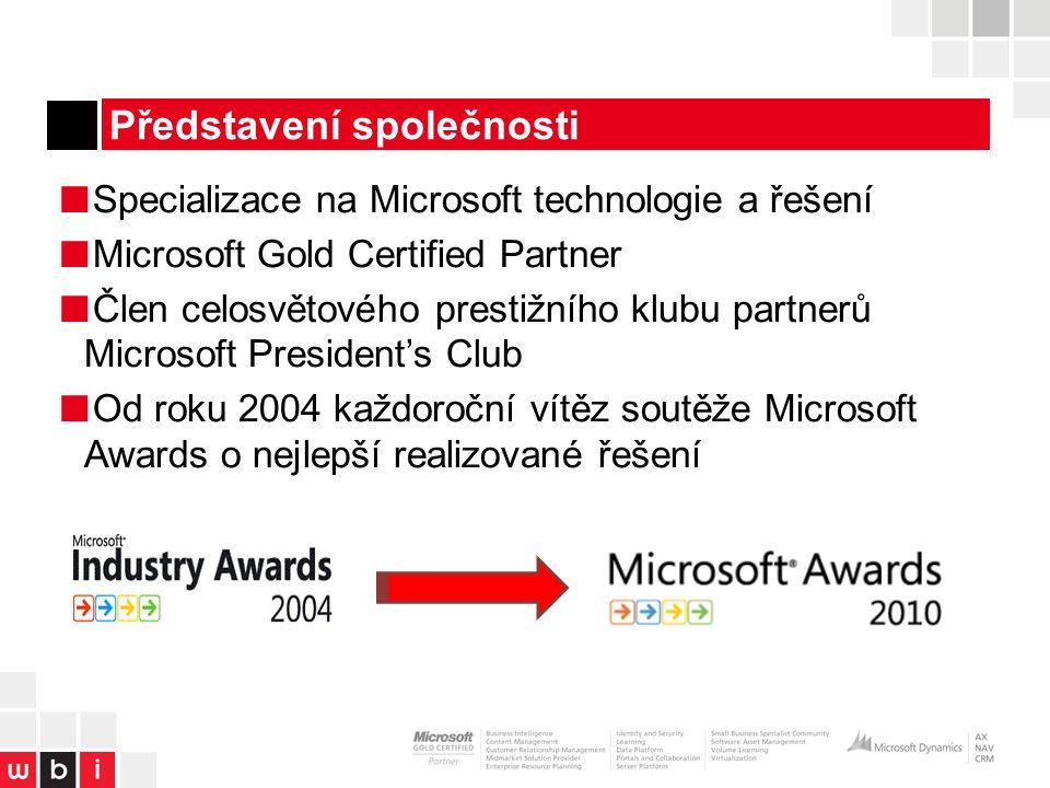 Představení společnosti ■ Specializace na Microsoft technologie a řešení ■ Microsoft Gold Certified Partner ■ Člen celosvětového prestižního klubu partnerů Microsoft President's Club ■ Od roku 2004 každoroční vítěz soutěže Microsoft Awards o nejlepší realizované řešení