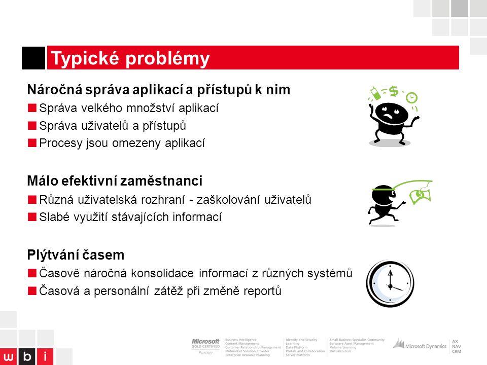 Typické problémy Náročná správa aplikací a přístupů k nim ■ Správa velkého množství aplikací ■ Správa uživatelů a přístupů ■ Procesy jsou omezeny aplikací Málo efektivní zaměstnanci ■ Různá uživatelská rozhraní - zaškolování uživatelů ■ Slabé využití stávajících informací Plýtvání časem ■ Časově náročná konsolidace informací z různých systémů ■ Časová a personální zátěž při změně reportů