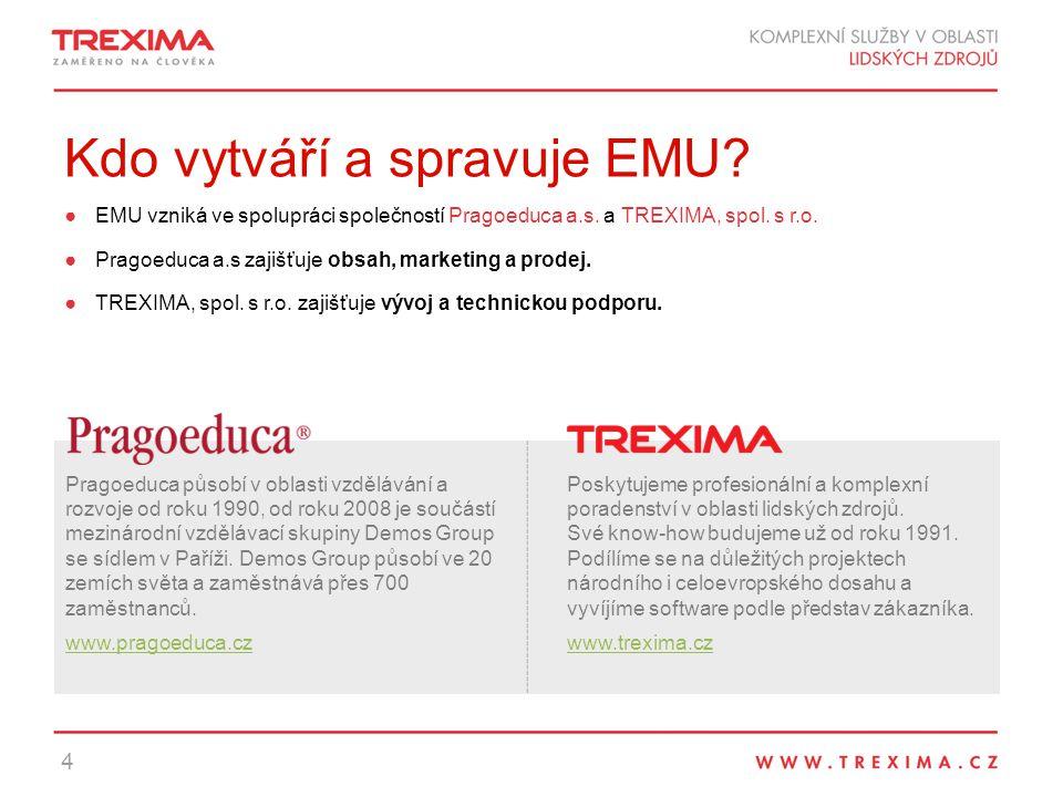 Kdo vytváří a spravuje EMU.●EMU vzniká ve spolupráci společností Pragoeduca a.s.
