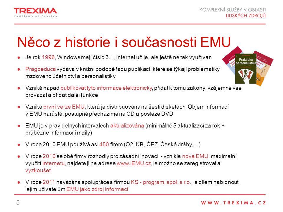 Něco z historie i současnosti EMU ●Je rok 1996, Windows mají číslo 3.1, Internet už je, ale ještě ne tak využíván ●Pragoeduca vydává v knižní podobě řadu publikací, které se týkají problematiky mzdového účetnictví a personalistiky ●Vzniká nápad publikovat tyto informace elektronicky, přidat k tomu zákony, vzájemně vše provázat a přidat další funkce ●Vzniká první verze EMU, která je distribuována na šesti disketách.