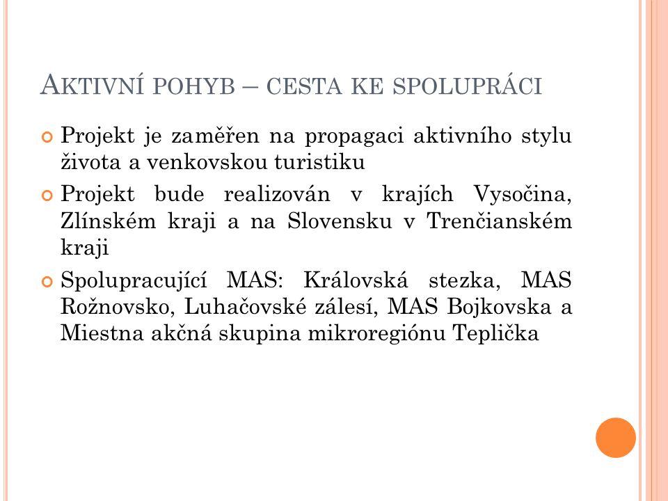 A KTIVNÍ POHYB – CESTA KE SPOLUPRÁCI Projekt je zaměřen na propagaci aktivního stylu života a venkovskou turistiku Projekt bude realizován v krajích Vysočina, Zlínském kraji a na Slovensku v Trenčianském kraji Spolupracující MAS: Královská stezka, MAS Rožnovsko, Luhačovské zálesí, MAS Bojkovska a Miestna akčná skupina mikroregiónu Teplička