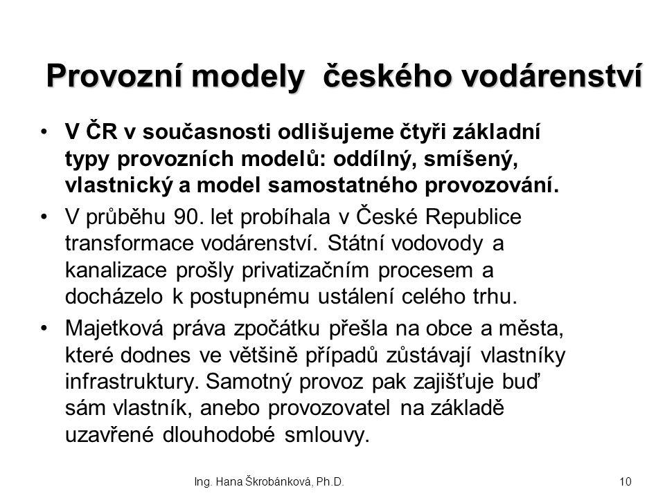 Provozní modely českého vodárenství V ČR v současnosti odlišujeme čtyři základní typy provozních modelů: oddílný, smíšený, vlastnický a model samostat
