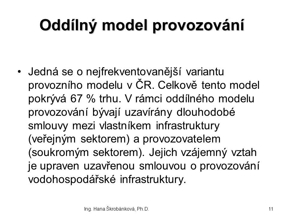 Oddílný model provozování Oddílný model provozování Jedná se o nejfrekventovanější variantu provozního modelu v ČR. Celkově tento model pokrývá 67 % t
