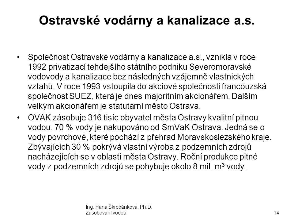 Ostravské vodárny a kanalizace a.s. Společnost Ostravské vodárny a kanalizace a.s., vznikla v roce 1992 privatizací tehdejšího státního podniku Severo