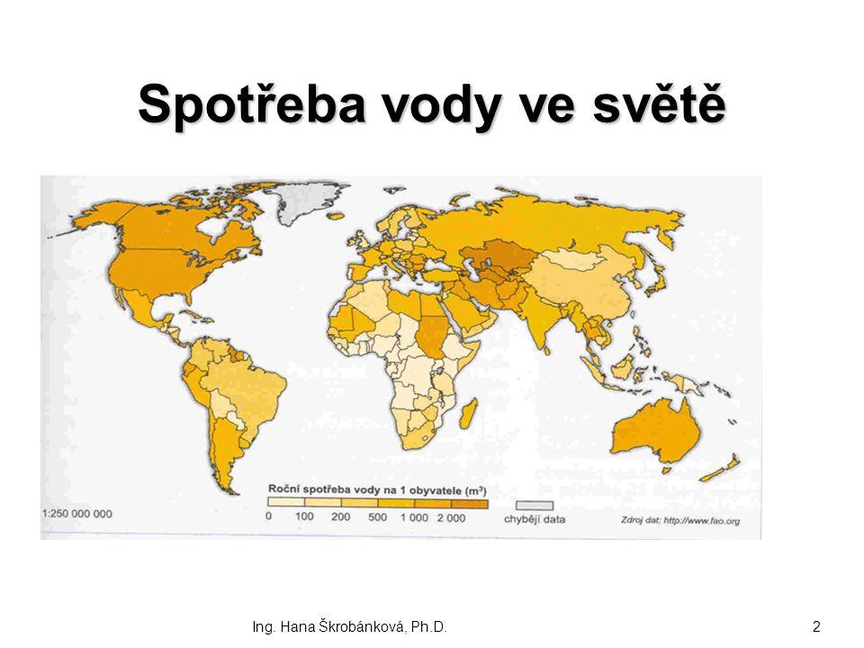 Spotřeba vody ve světě Ing. Hana Škrobánková, Ph.D.2