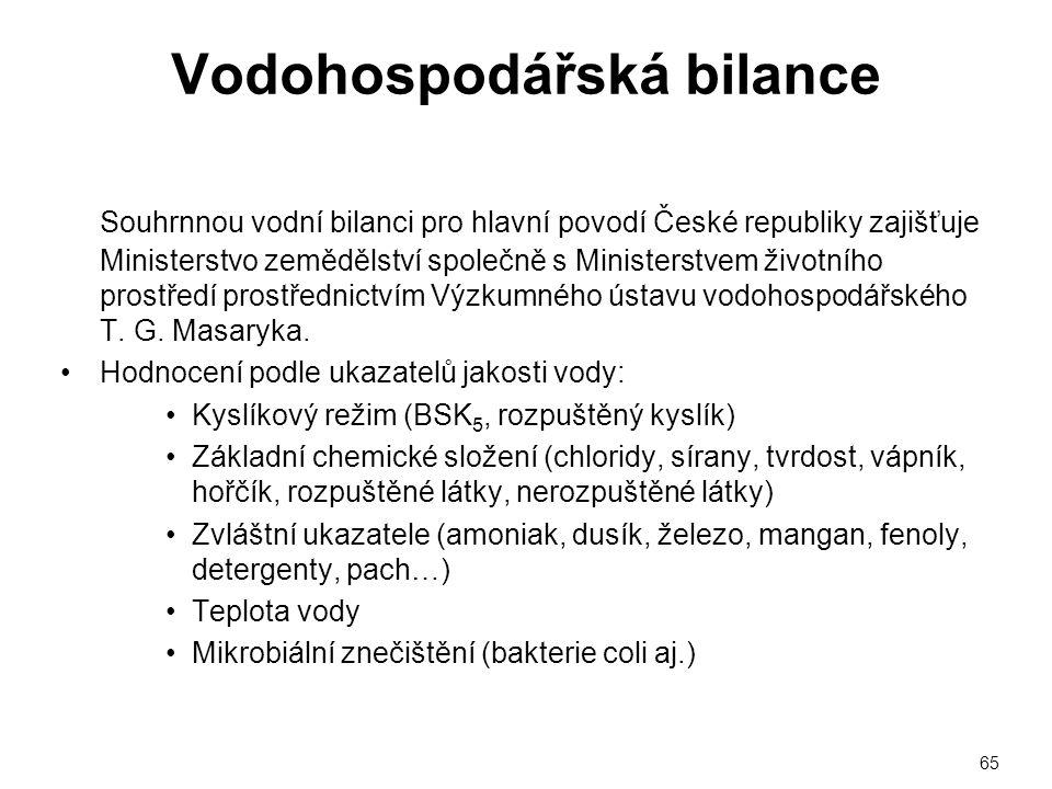 Vodohospodářská bilance Souhrnnou vodní bilanci pro hlavní povodí České republiky zajišťuje Ministerstvo zemědělství společně s Ministerstvem životníh