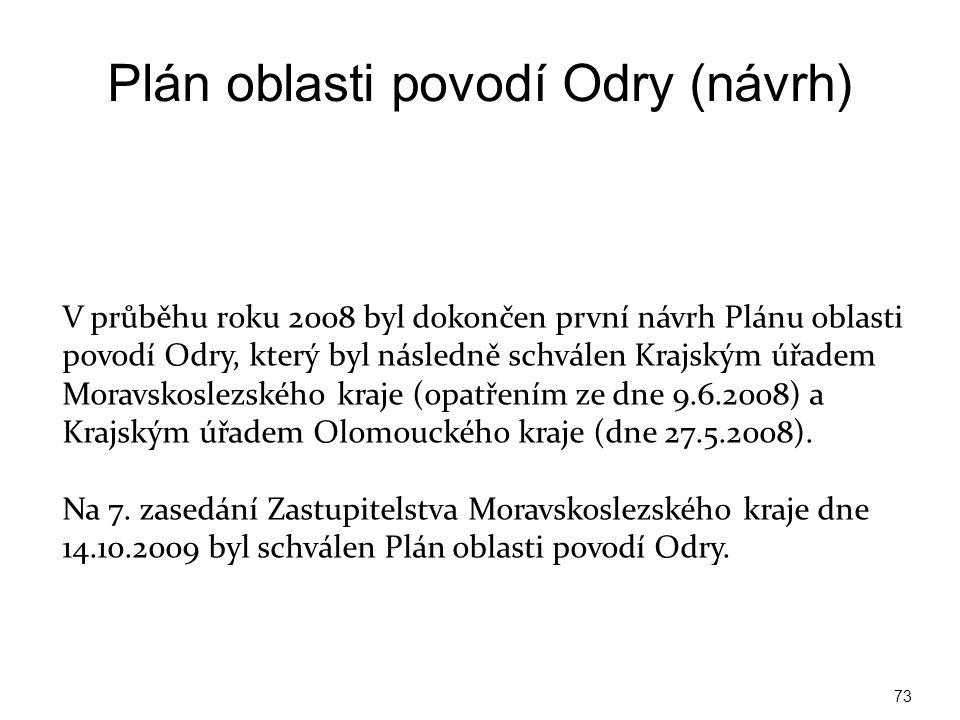 Plán oblasti povodí Odry (návrh) http://www.pod.cz/planovani/cz/plan_oblasti_povodi _odry.html 73 V průběhu roku 2008 byl dokončen první návrh Plánu o