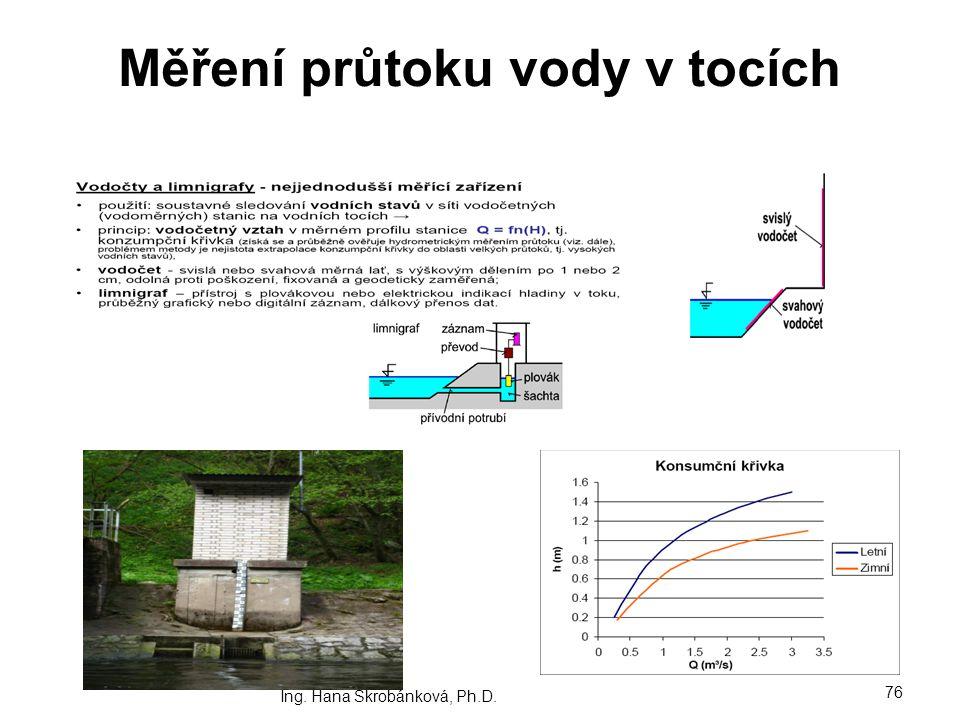 Měření průtoku vody v tocích Ing. Hana Škrobánková, Ph.D. 76