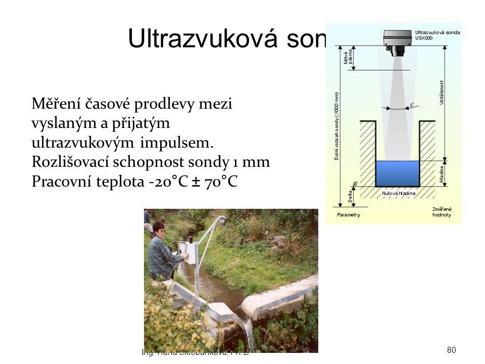 Ultrazvuková sonda Ing. Hana Škrobánková, Ph.D. 80 Měření časové prodlevy mezi vyslaným a přijatým ultrazvukovým impulsem. Rozlišovací schopnost sondy