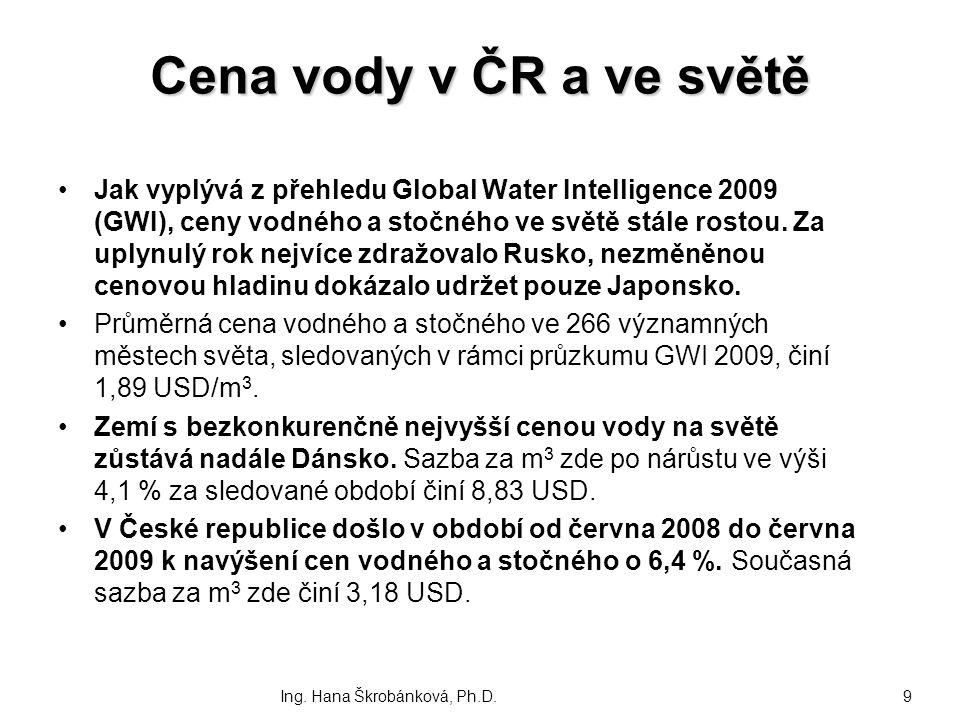 Cena vody v ČR a ve světě Jak vyplývá z přehledu Global Water Intelligence 2009 (GWI), ceny vodného a stočného ve světě stále rostou. Za uplynulý rok