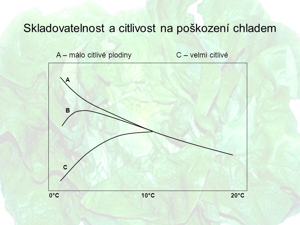 A – málo citlivé plodinyC – velmi citlivé Skladovatelnost a citlivost na poškození chladem 0°C10°C A B C 20°C