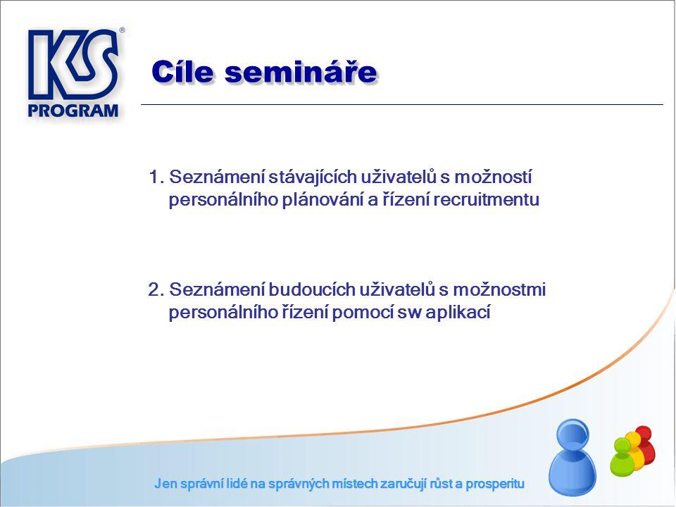 Cíle semináře Jen správní lidé na správných místech zaručují růst a prosperitu 1. Seznámení stávajících uživatelů s možností personálního plánování a