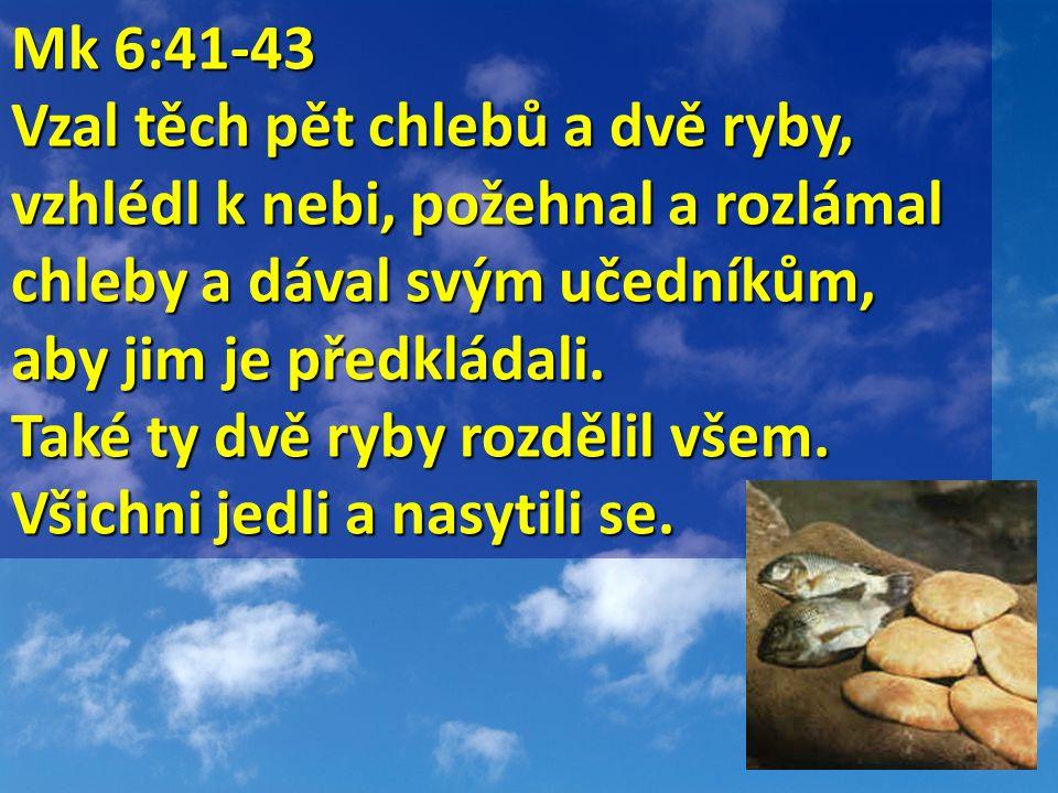 Mk 6:41-43 Mk 6:41-43 Vzal těch pět chlebů a dvě ryby, vzhlédl k nebi, požehnal a rozlámal chleby a dával svým učedníkům, aby jim je předkládali.