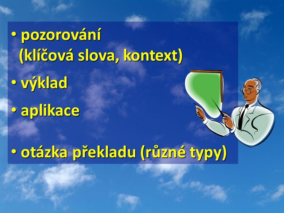 pozorování pozorování (klíčová slova, kontext) (klíčová slova, kontext) výklad výklad aplikace aplikace otázka překladu (různé typy) otázka překladu (různé typy)