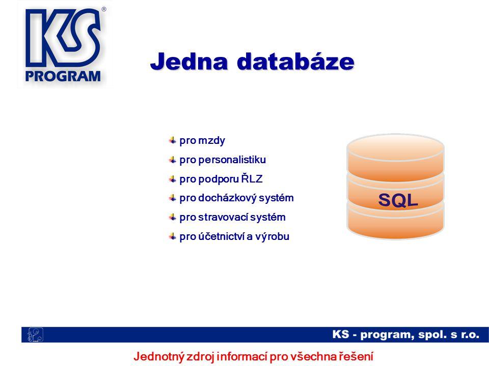 Jednotný zdroj informací pro všechna řešení Jedna databáze pro mzdy pro personalistiku pro podporu ŘLZ pro docházkový systém pro stravovací systém pro účetnictví a výrobu