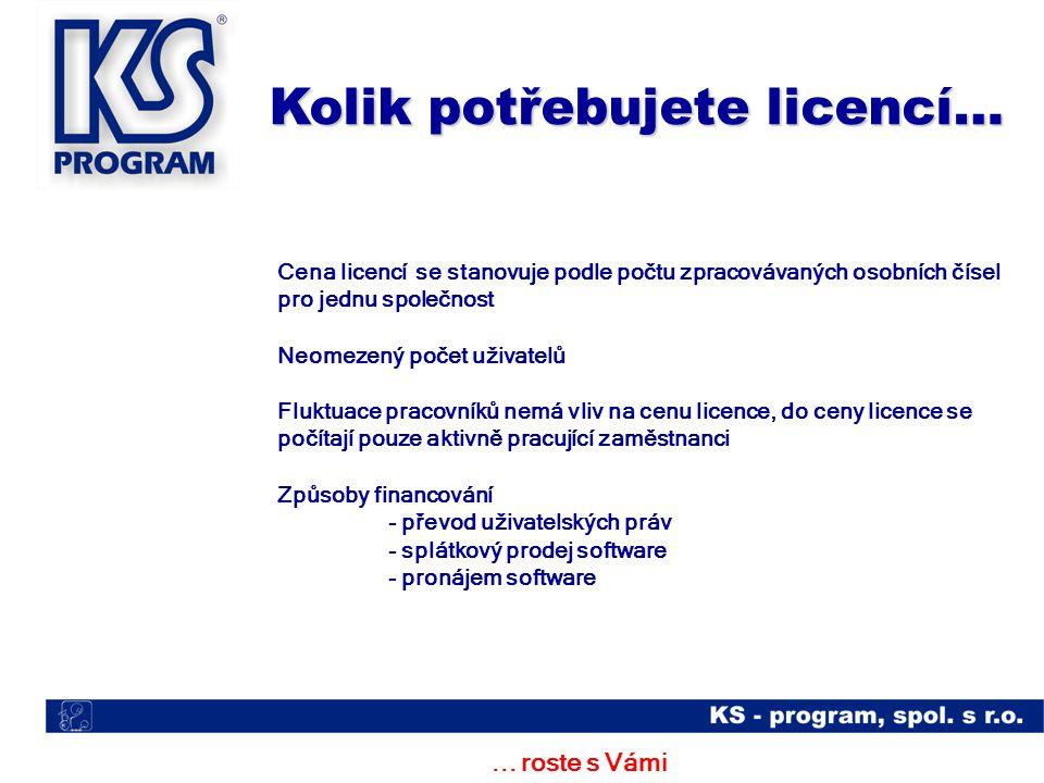 ... roste s Vámi Cena licencí se stanovuje podle počtu zpracovávaných osobních čísel pro jednu společnost Neomezený počet uživatelů Fluktuace pracovní