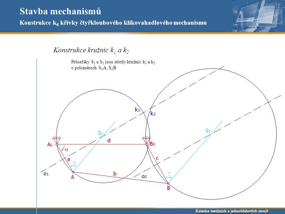 Stavba mechanismů Konstrukce kružnic k 1 a k 2 Konstrukce k d křivky čtyřkloubového klikovahadlového mechanismu Průsečíky S 1 a S 2 jsou středy kružnic k 1 a k 2 o poloměrech S 1 A, S 2 B