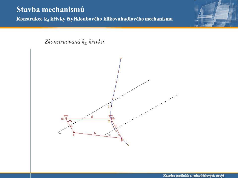 Stavba mechanismů Zkonstruovaná k D křivka Konstrukce k d křivky čtyřkloubového klikovahadlového mechanismu