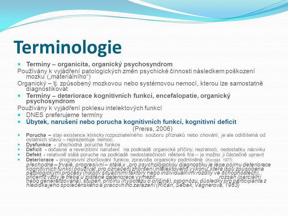 """Terminologie Termíny – organicita, organický psychosyndrom Používány k vyjádření patologických změn psychické činnosti následkem poškození mozku (""""materiálního ) Organický – tj."""