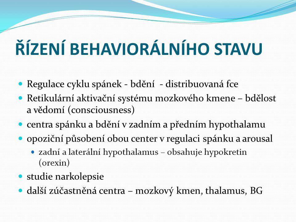 ŘÍZENÍ BEHAVIORÁLNÍHO STAVU Regulace cyklu spánek - bdění - distribuovaná fce Retikulární aktivační systému mozkového kmene – bdělost a vědomí (consci