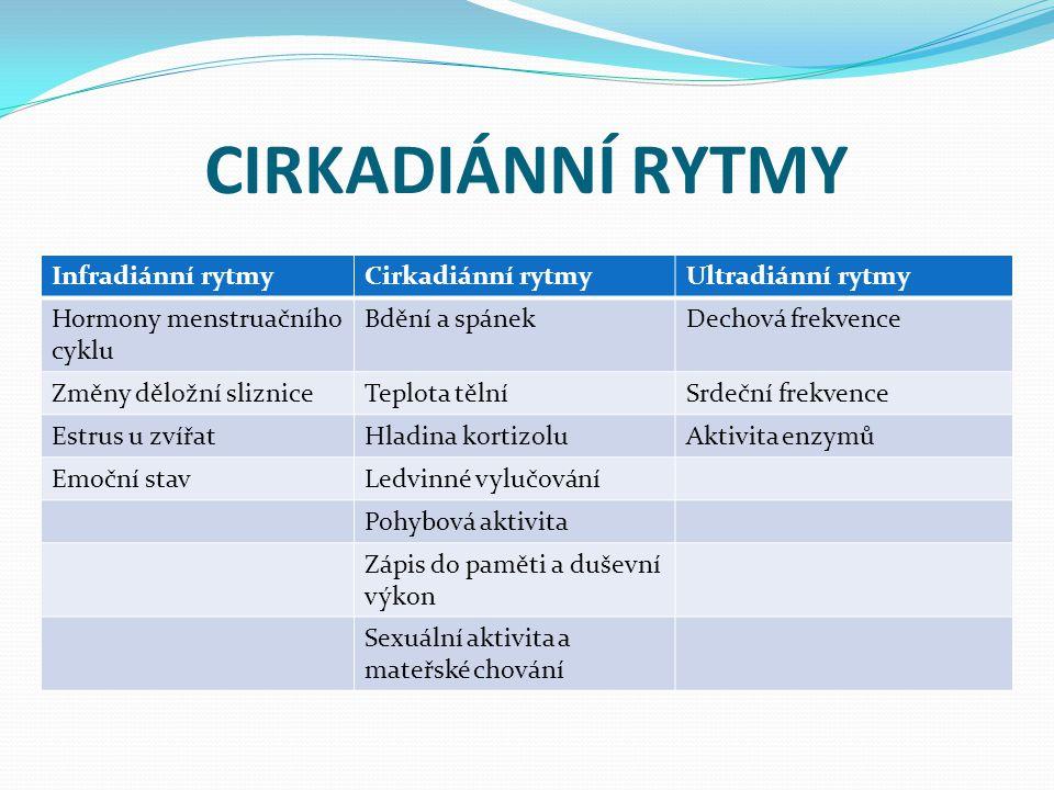 CIRKADIÁNNÍ RYTMY Infradiánní rytmyCirkadiánní rytmyUltradiánní rytmy Hormony menstruačního cyklu Bdění a spánekDechová frekvence Změny děložní slizni