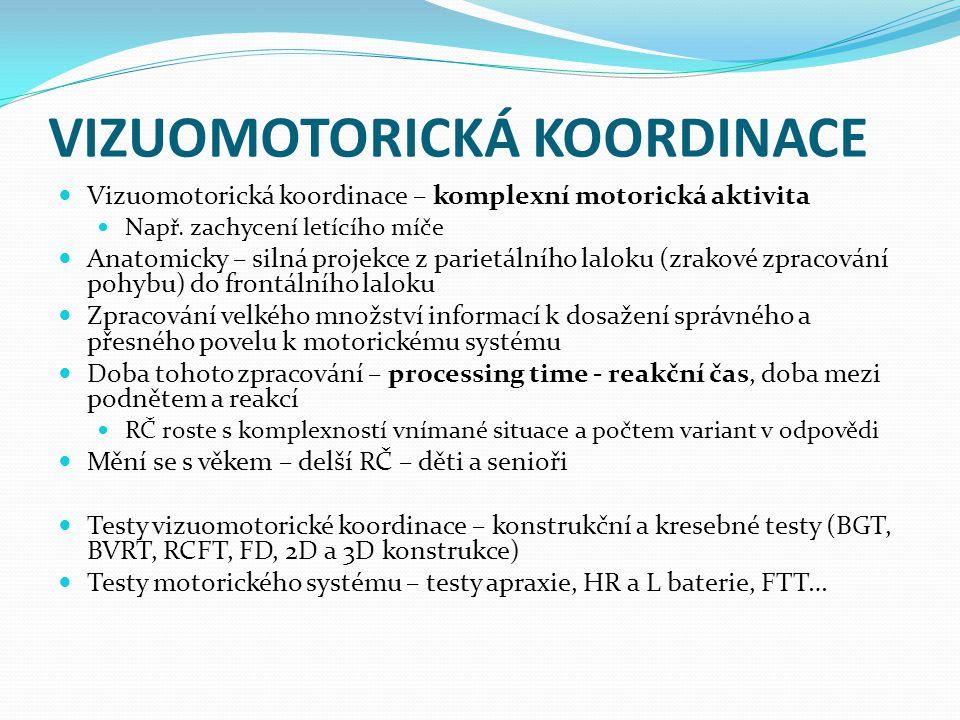 VIZUOMOTORICKÁ KOORDINACE Vizuomotorická koordinace – komplexní motorická aktivita Např.