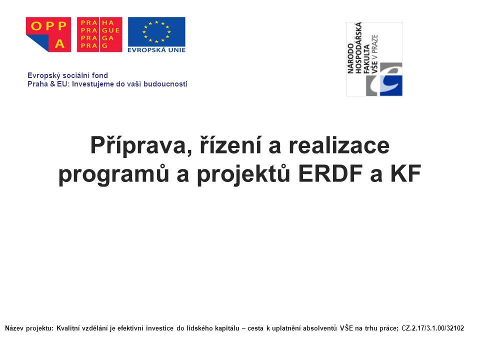 Příprava, řízení a realizace programů a projektů ERDF a KF Evropský sociální fond Praha & EU: Investujeme do vaší budoucnosti Název projektu: Kvalitní vzdělání je efektivní investice do lidského kapitálu – cesta k uplatnění absolventů VŠE na trhu práce; CZ.2.17/3.1.00/32102