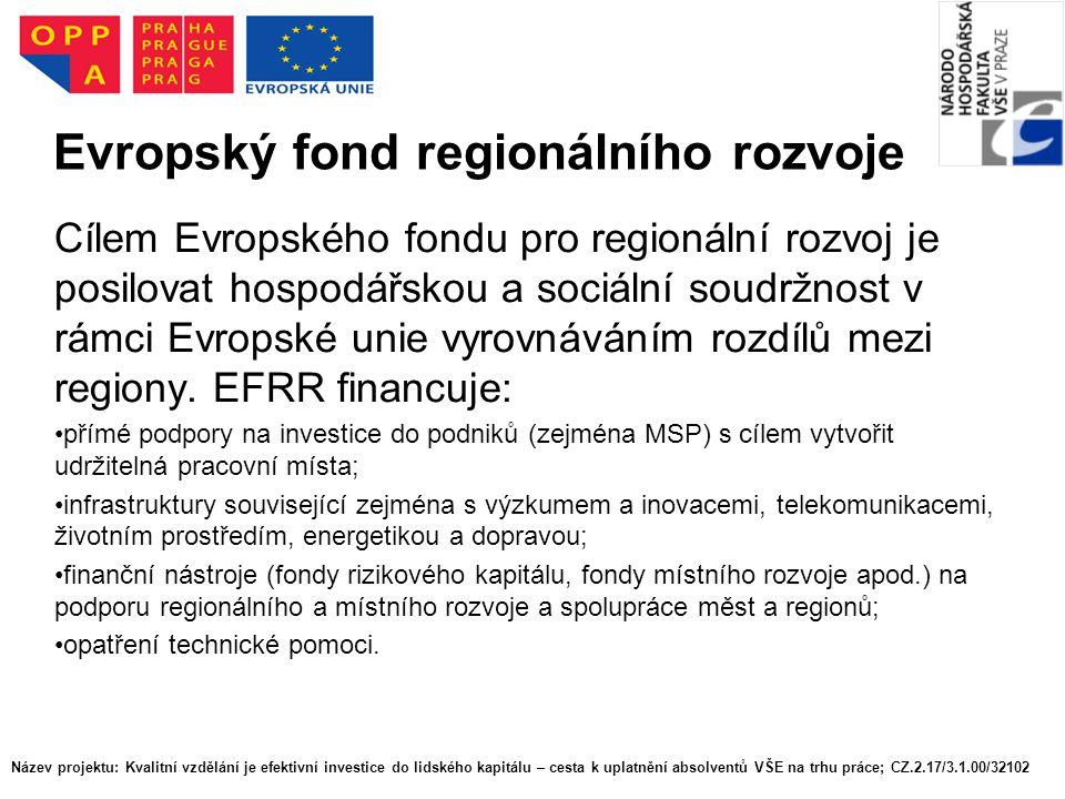 Evropský fond regionálního rozvoje Cílem Evropského fondu pro regionální rozvoj je posilovat hospodářskou a sociální soudržnost v rámci Evropské unie vyrovnáváním rozdílů mezi regiony.