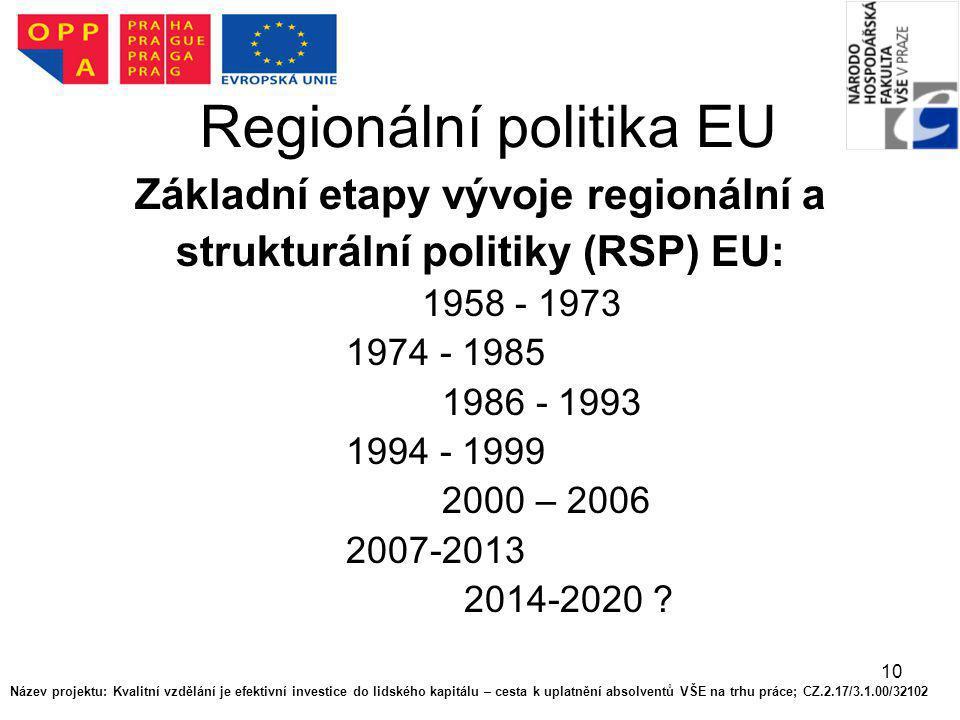 10 Regionální politika EU Základní etapy vývoje regionální a strukturální politiky (RSP) EU: 1958 - 1973 1974 - 1985 1986 - 1993 1994 - 1999 2000 – 20