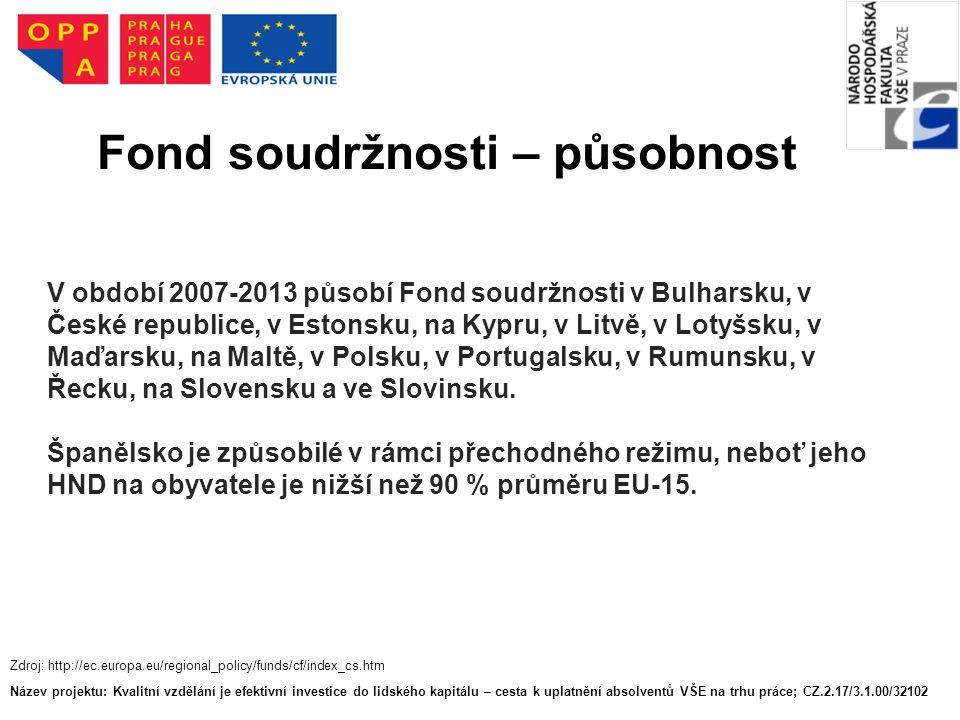 V období 2007-2013 působí Fond soudržnosti v Bulharsku, v České republice, v Estonsku, na Kypru, v Litvě, v Lotyšsku, v Maďarsku, na Maltě, v Polsku, v Portugalsku, v Rumunsku, v Řecku, na Slovensku a ve Slovinsku.