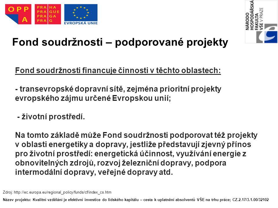 Fond soudržnosti financuje činnosti v těchto oblastech: - transevropské dopravní sítě, zejména prioritní projekty evropského zájmu určené Evropskou unií; - životní prostředí.