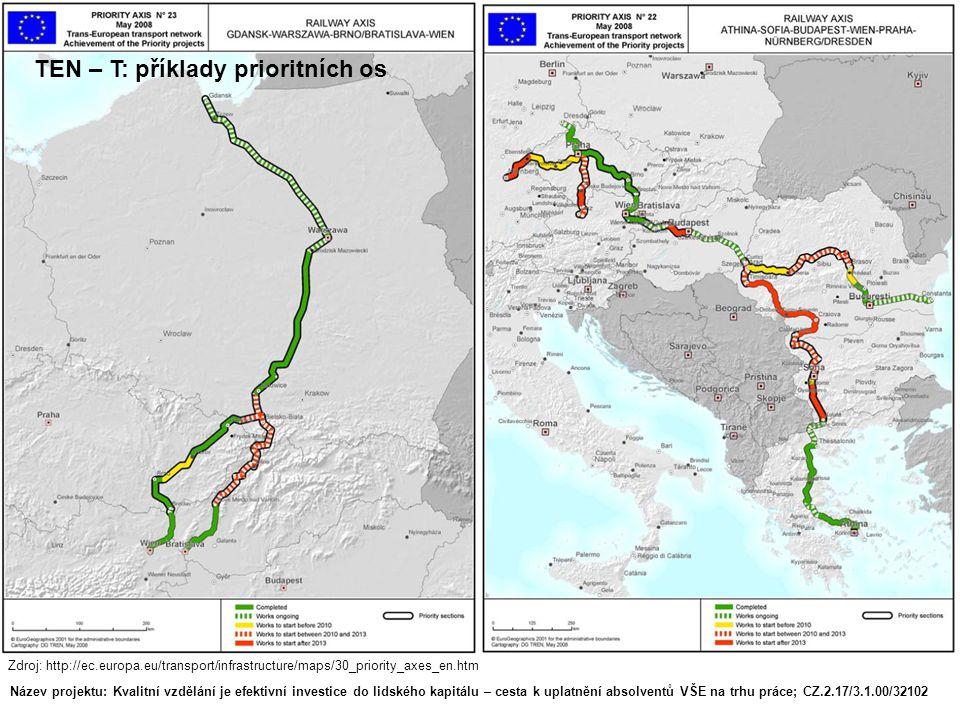 Název projektu: Kvalitní vzdělání je efektivní investice do lidského kapitálu – cesta k uplatnění absolventů VŠE na trhu práce; CZ.2.17/3.1.00/32102 Zdroj: http://ec.europa.eu/transport/infrastructure/maps/30_priority_axes_en.htm TEN – T: příklady prioritních os