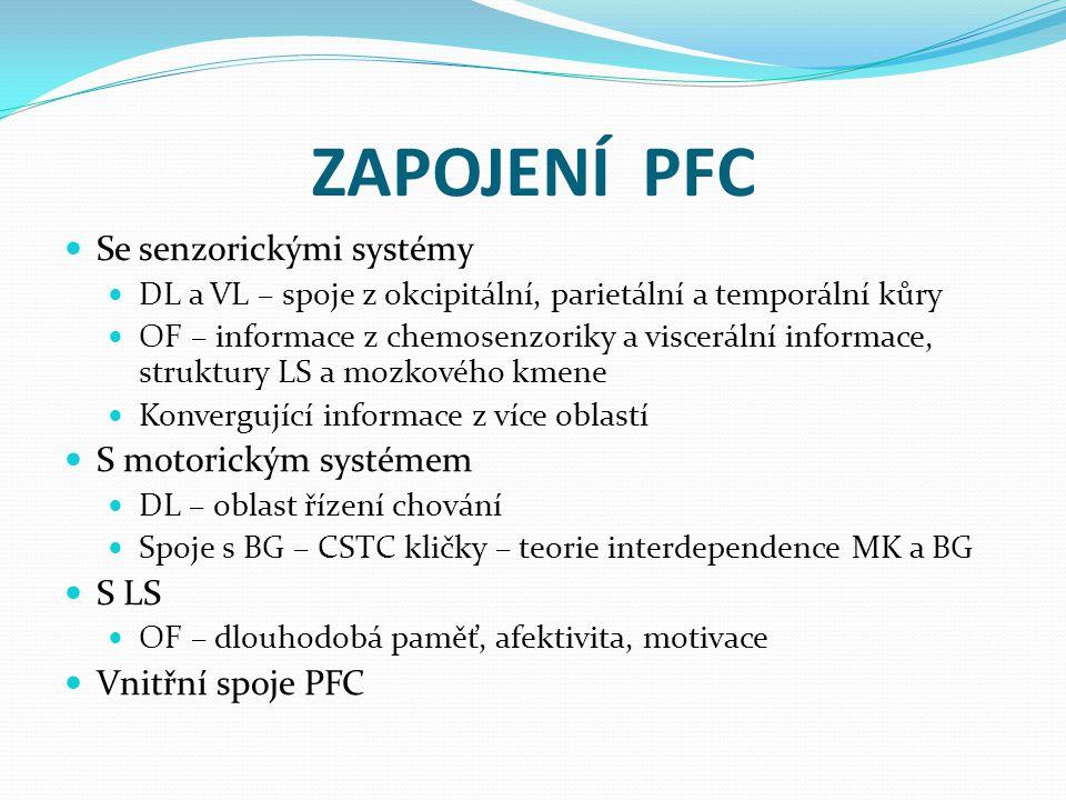 ZAPOJENÍ PFC Se senzorickými systémy DL a VL – spoje z okcipitální, parietální a temporální kůry OF – informace z chemosenzoriky a viscerální informac
