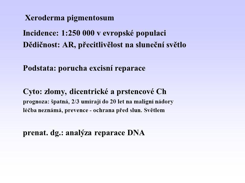Xeroderma pigmentosum Incidence: 1:250 000 v evropské populaci Dědičnost: AR, přecitlivělost na sluneční světlo Podstata: porucha excisní reparace Cyt