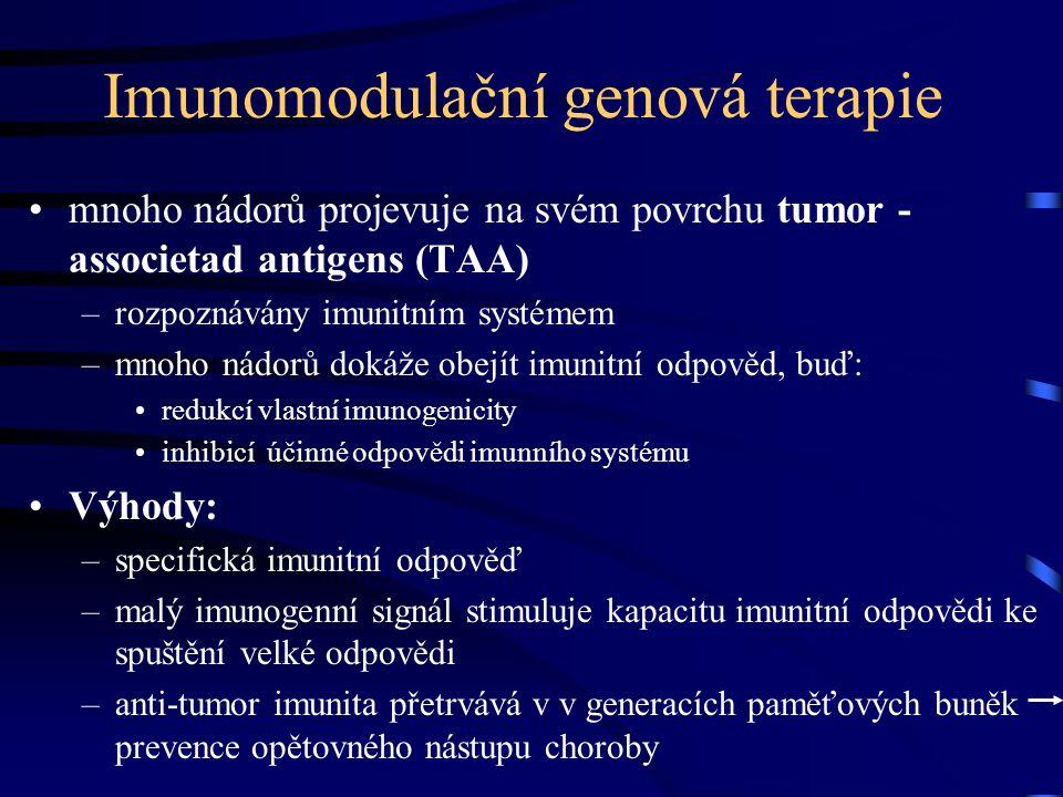 Imunomodulační genová terapie mnoho nádorů projevuje na svém povrchu tumor - associetad antigens (TAA) –rozpoznávány imunitním systémem –mnoho nádorů dokáže obejít imunitní odpověd, buď: redukcí vlastní imunogenicity inhibicí účinné odpovědi imunního systému Výhody: –specifická imunitní odpověď –malý imunogenní signál stimuluje kapacitu imunitní odpovědi ke spuštění velké odpovědi –anti-tumor imunita přetrvává v v generacích paměťových buněk prevence opětovného nástupu choroby
