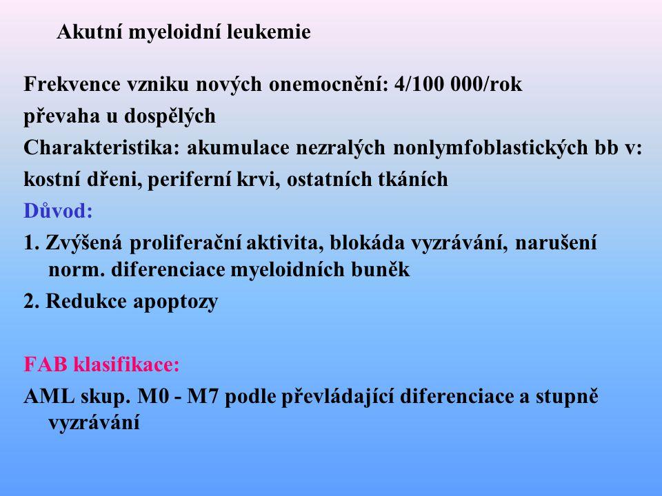 Akutní myeloidní leukemie Frekvence vzniku nových onemocnění: 4/100 000/rok převaha u dospělých Charakteristika: akumulace nezralých nonlymfoblastický