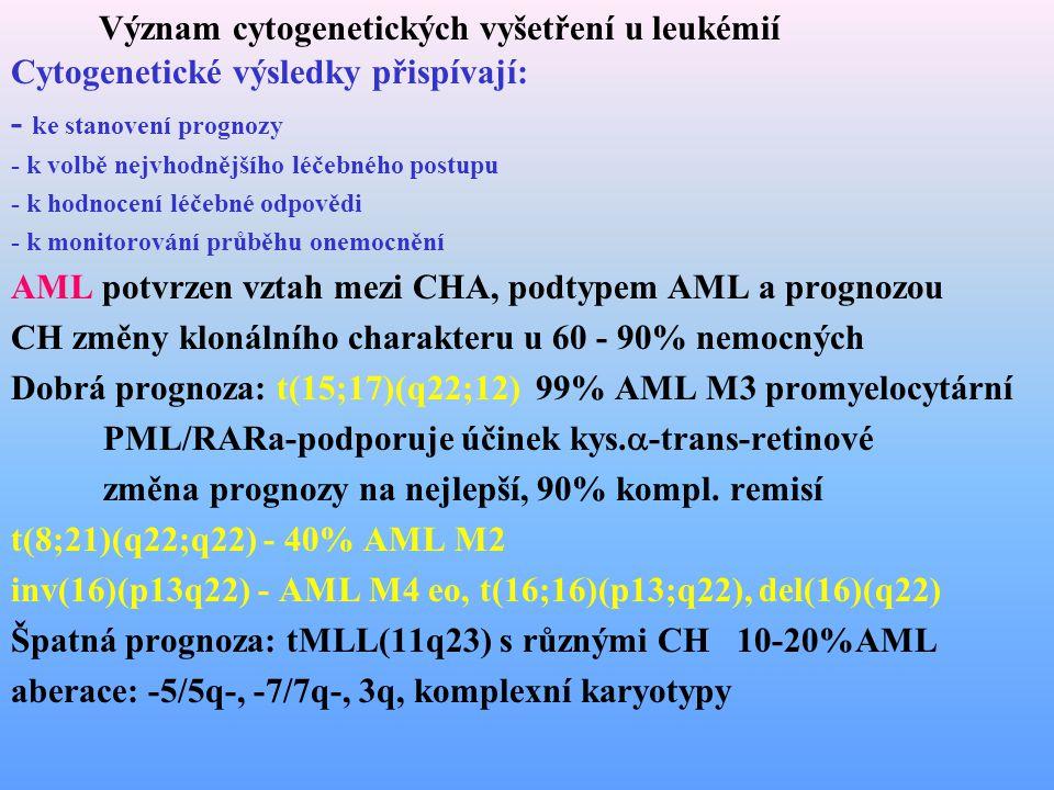 Význam cytogenetických vyšetření u leukémií Cytogenetické výsledky přispívají: - ke stanovení prognozy - k volbě nejvhodnějšího léčebného postupu - k