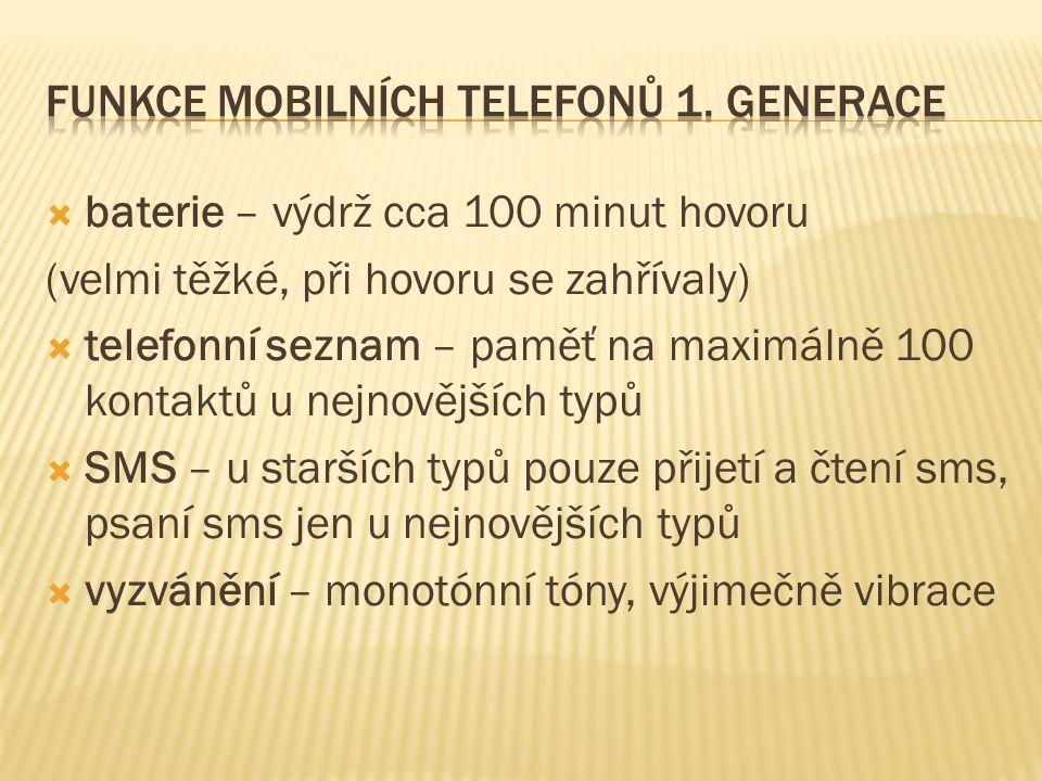 ModelVýbavaCena Kč Alcatel HC400 Displej - 4 řádky, nemožnost odesílat SMS, výdrž 43 hodin, 210 gramů11 250 Alcatel HC800 Displej - 5 řádků, paměť na 100 čísel, podpora SMS, budík, kalkulačka, výdrž 43 hodin, 172 gramů 16 900 Bosch M- Com 206 Displej - 2 řádky, paměť na 100 čísel, nemožnost odesílat SMS, 275 gramů (původně Motorola) 13 990 Ericsson GH388 Displej - 3 řádky, paměť na 99 kontaktů, kalkulačka, výdrž 37 hodin, 198 gramů 21 350 Nokia 9000 Komunikátor, displej - 3 řádky + hlavní displej 115 x 35 mm, paměť 8 MB, podpora SMS a dat, výdrž 30 hodin, 397 gramů 50 000 Panasonic 400 Displej - 2 řádky, paměť na 50 kontaktů, podpora SMS a dat, hlasový zápisník, výdrž 18 hodin, 198 gramů 14 280 Siemens S4 Displej - 4 řádky, paměť na 50 kontaktů, podpora SMS a dat, výdrž 50 hodin, 235 gramů 19 990 Sony CM- DX 1000 Displej - 4 řádky, paměť na 50 kontaktů, podpora SMS a dat, výdrž 50 hodin, 236 gramů 19 970