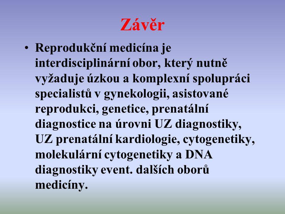Závěr Reprodukční medicína je interdisciplinární obor, který nutně vyžaduje úzkou a komplexní spolupráci specialistů v gynekologii, asistované reprodu