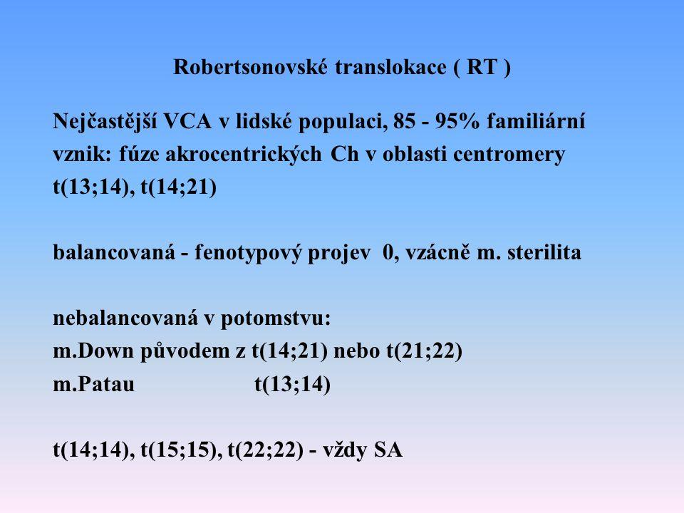 Robertsonovské translokace ( RT ) Nejčastější VCA v lidské populaci, 85 - 95% familiární vznik: fúze akrocentrických Ch v oblasti centromery t(13;14),